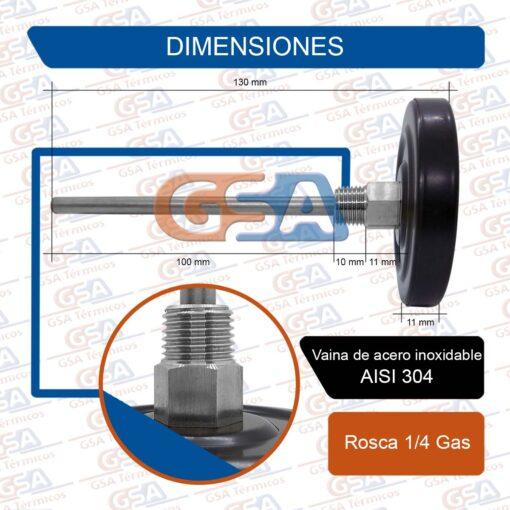Dimensiones termometro 300 inox
